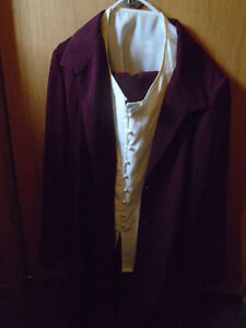 Beautiful Maroon Color, Long Split Side Blazer, Skirt and Blouse