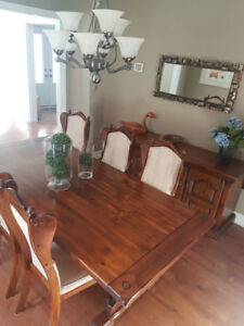 "38""x100"" Dining Table 2 leaves, Sideboard, Tea Wagon &  9 Chairs"