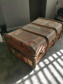 Antique vintage travel trunk
