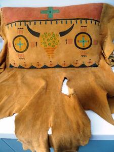 Native American BUFFALO SKULL suede deer hide PILLOW Choctaw art