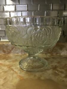 Large Glass Pedestal Fruit Dessert Bowl