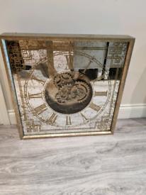 Fabulous Large Mirrored Gold Wall Clock Brand New