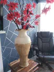 Large vase +2 sets of pre lit branches and flowers
