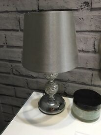 Bedside table lamp chrome mosaiac silver