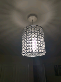 Chrome effect diamonte beaded light fitting and matching lamps x 2
