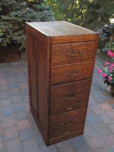 Antique Solid Oak 4 Drawer Filing Cabinet