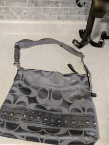 Coach grey monogram bag/purse