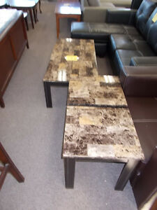 New immitation marble coffee table and two end tables. $249.