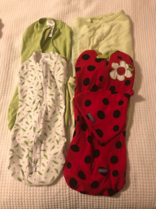 "4 x Swaddle Sacks ""Like New"" 0-3 months & 3-6 months"