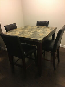 SELLING FAUX GRANITE BAR HEIGHT TABLE AND CHAIRS 4X4