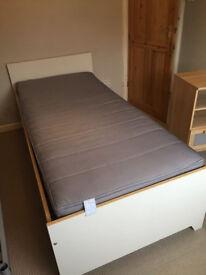 IKEA ROBIN white single bed frame and mattress