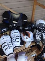 Youth hockey equipment for sale.