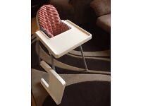 IKEA antilop high chair with spare tray and booster cushion