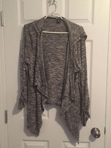 Long sleeve grey asymmetrical open front sweater, size XL