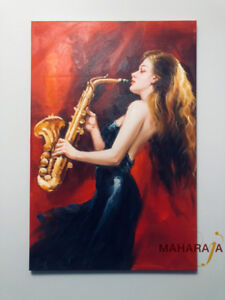 Beautiful Handmade Painting on Canvas( Lady with Saxophone)