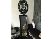 Shabby chic ornate long black mirror 16x52ins