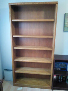 2 - 6 feet solid oak bookcases with 5 adjustable shelves
