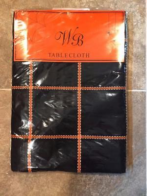 HALLOWEEN THEMED TABLECLOTH ~ Black Orange & White ~   52 X 70 Rec ~ - Halloween Rec