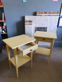 Pair of yellow hemnes IKEA bedside tables