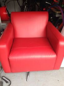 Designer Red leather swivel chair