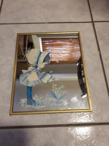 Antique mirror print  Vintage mirror girl watering flowers