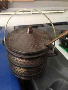 VINTAGE FIREPLACE FIRE STARTER LIGHTER SMUDGE POT WITH WAND