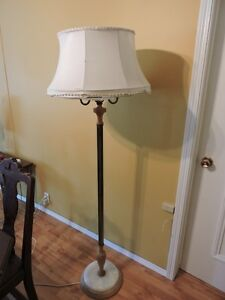 Antique Marble Base Floor Lamp Complete With Shade