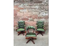 Chesterfield Green captains chairs