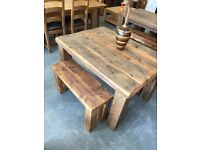 4ft x 3ft reclaimed pine dining table