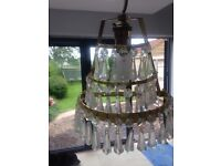 Original 1930's Art Deco 3 brass wall lights