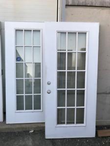 Used Insulated Steel Door Slab /w Glass 36x79 ($30.00 Each)