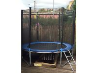 Trampoline with ladder and safety cover