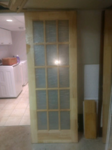 Pine glass doors