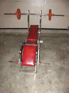Weight Bench, Bar and 50 lbs