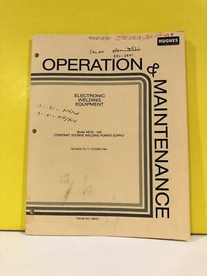 Hughes Mcw-550 Constant Voltage Welding Power Supply Operation Manual