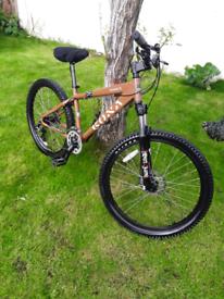 Kona downhill mountain bike 26 inch wheels big front suspension, discs