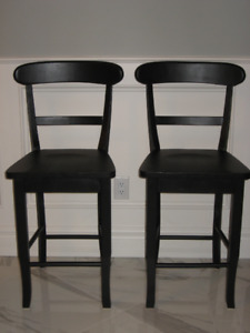 2 Refinished Wood Counter Height Chairs in Black