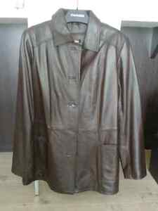 Leather Coat - Dark Brown