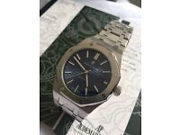 Blue face full brushed stainless ap mens automatic waterproof watch audemars boxed booklets