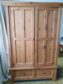 Pine double wardrobe with bottom drawers