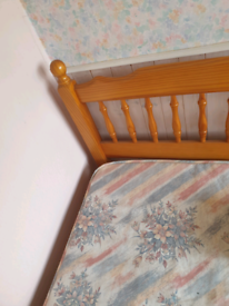 PINE SINGLE BED AND MATTRESS FOR SALE