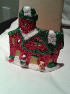 Christmas House Ceramic Candle Holder