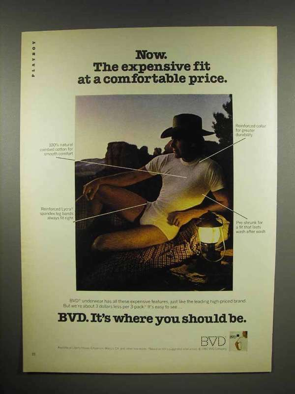 1982 BVD Underwear Ad - Fit at a Comfortable Price
