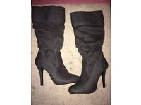 Grey knee high boots size 4