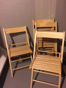 4 Folding Solid Wood Chairs