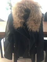 REAL FUR black faux-leather jacket (New with tags!)