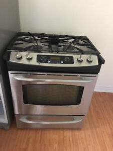 "ge gas 30"" stainless steel 5 burner stove self clean convection"