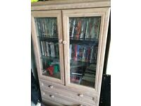 2 draw glass display cabinet on wheels easy for moving