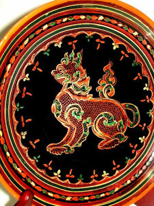fine BURMESE LACQUER antique WOOD Plate FOO LION gorgeous PanYun Cambridge Kitchener Area image 9