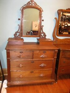 ANTIQUE REFINISHED DRESSER WITH TILT MIRROR